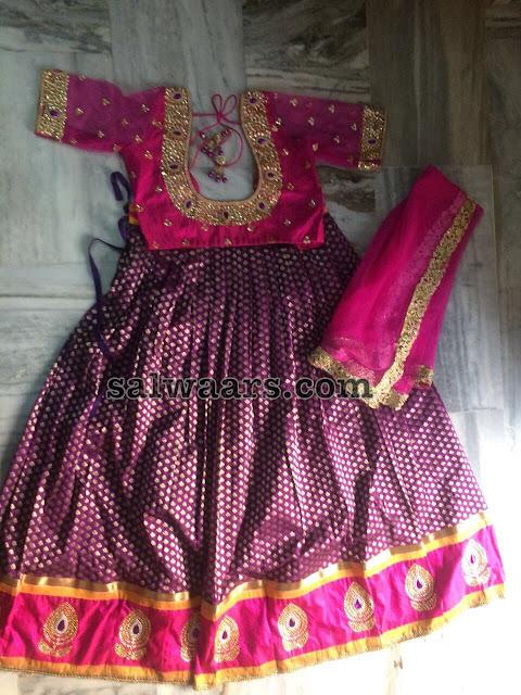 Benaras Pink Half Saree