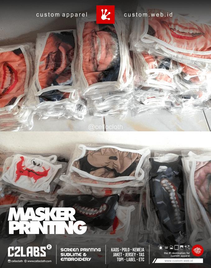Masker Printing Desain Mulut Senyum dan Ketawa - Custom Masker Jogja