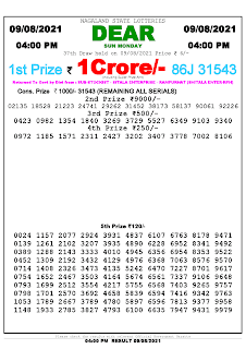 Nagaland State Lottery Result Today 09 August 2021,4Pm