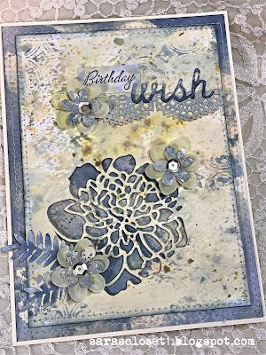 Sara Emily Barker https://sarascloset1.blogspot.com/ Mixed Media Birthday Card Tim Holtz Cutout Blossoms 1