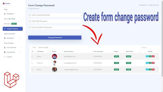Laravel - Change Password with Current Password Validation Example