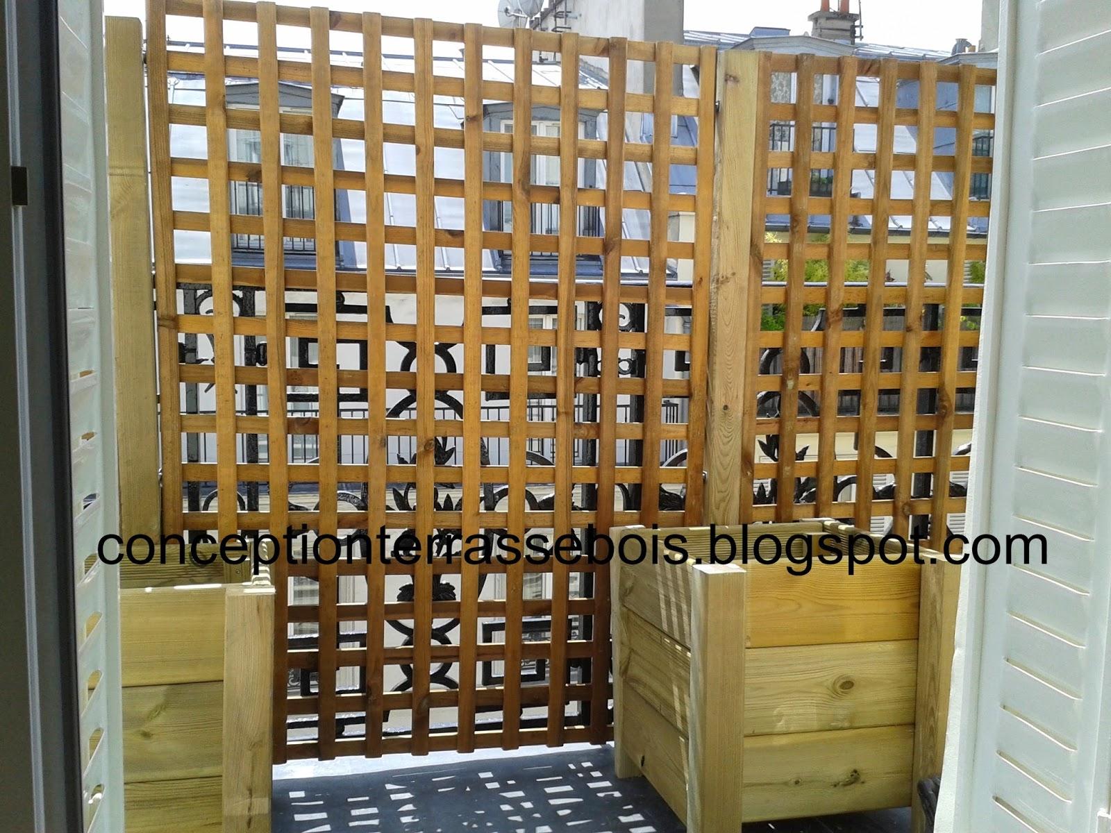 conception d 39 une terrasse en bois brise vue en bois pour balcon ou terrasse. Black Bedroom Furniture Sets. Home Design Ideas