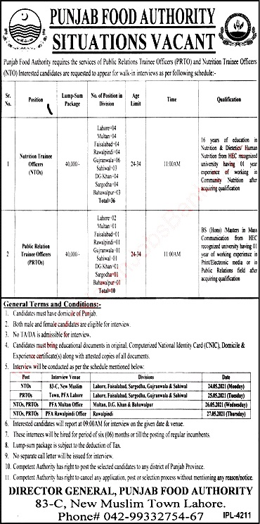 Latest Jobs in Punjab Food Authority  May 2021