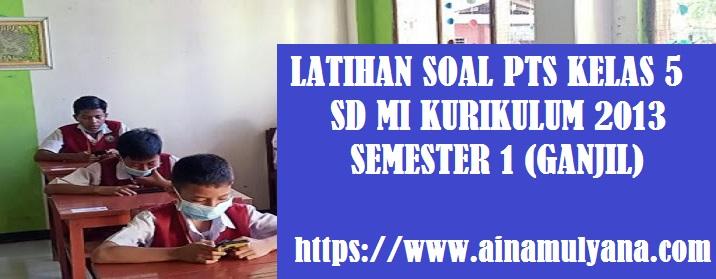 Latihan Soal PTS Kelas 5 SD MI Kurikulum 2013 Semester 1 (Ganjil) Tahun Pelajaran 2021-2022