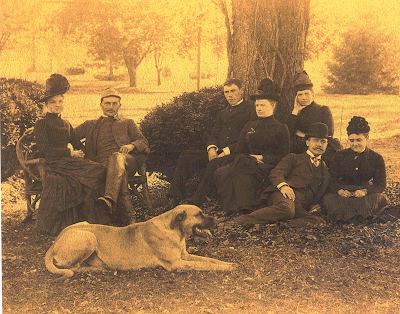 A gathering at Fort Hunter with one of the Reily's pet dogs