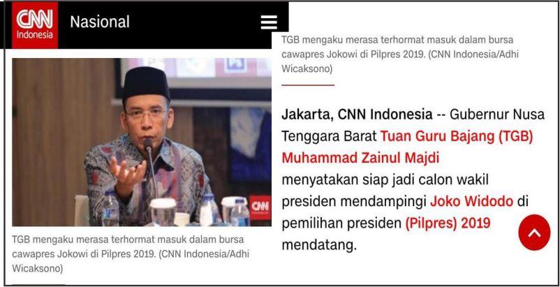 Tuan Guru Bajang Nyatakan Siap Jadi Cawapres Jokowi