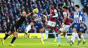 أستون فيلا يعود بالتعادل الاجابي من امام فريق برايتون في الجولة 23 من الدوري الانجليزي