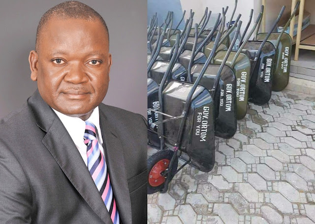 Governor Ortom Empower Benue Youths With Wheelbarrow