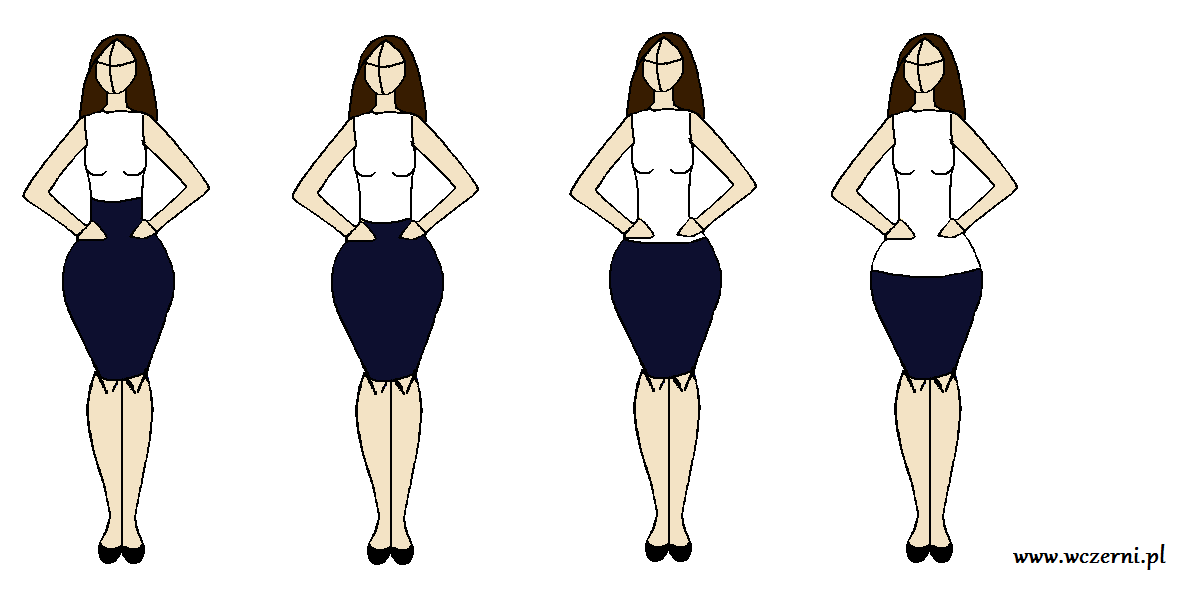 szerokie biodra wyszczuplone za pomocą odpowiednio dobranego stanu spódnicy