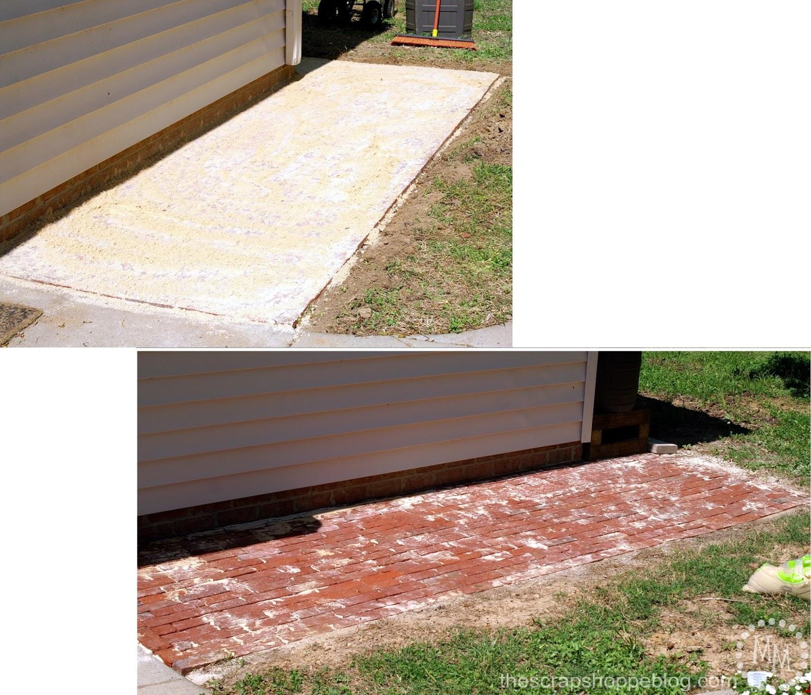 how to build a brick patio - adding sand to patio bricks