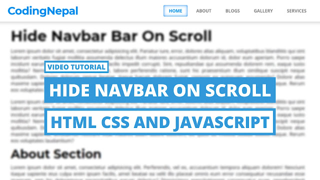 Scroll Down to Hide Navbar with HTML CSS & JavaScript