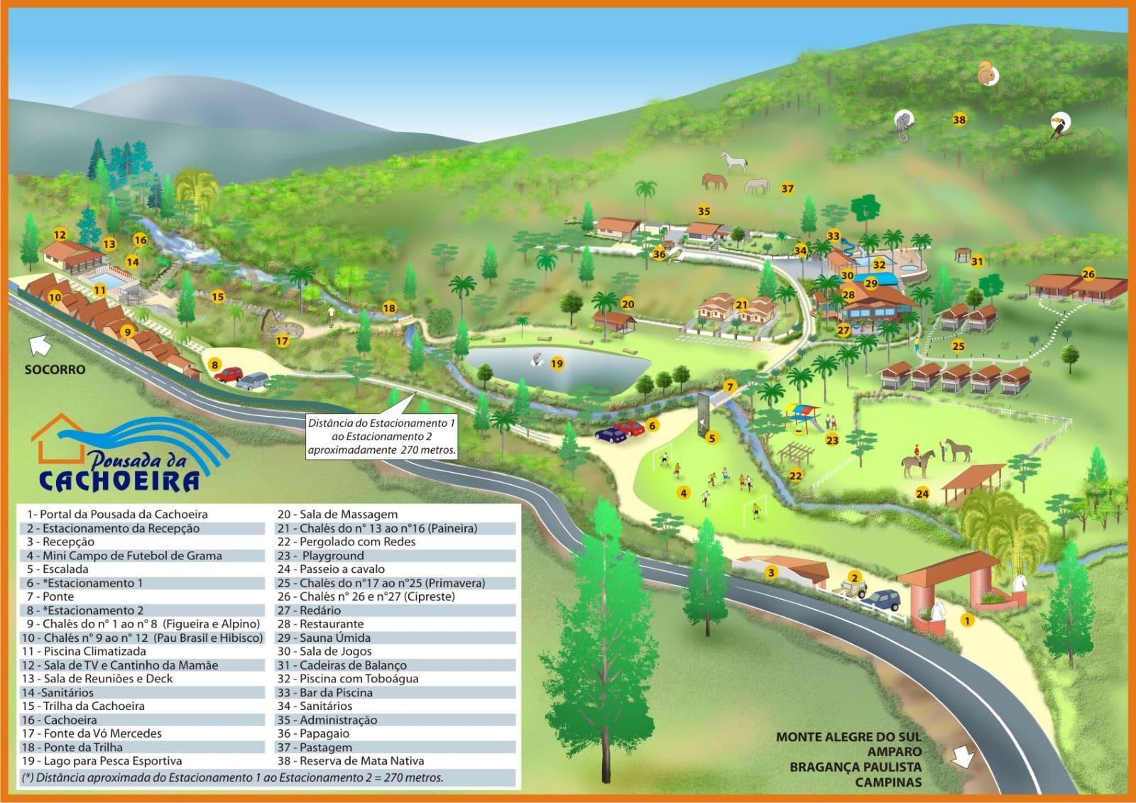 mapa da pousada da cachoeira