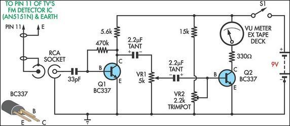 TV Relative Signal Strength Meter   Electronic Schematics on variable resistor schematic, potentiometer schematic, digital voltmeter schematic, multimeter schematic,