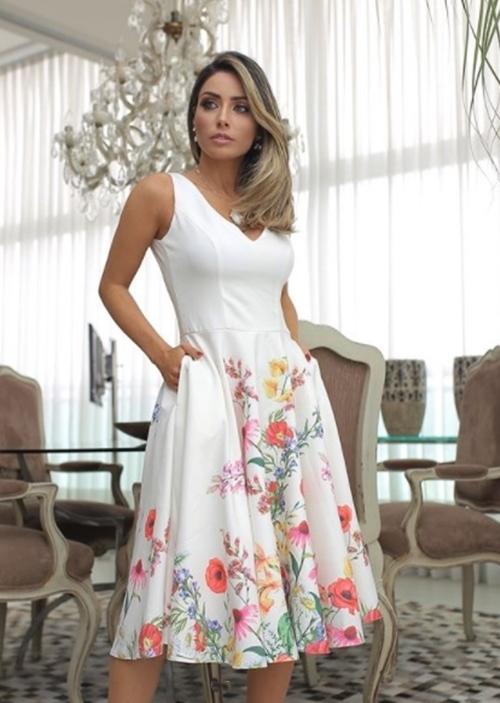 vestido de festa curto  bordado floral
