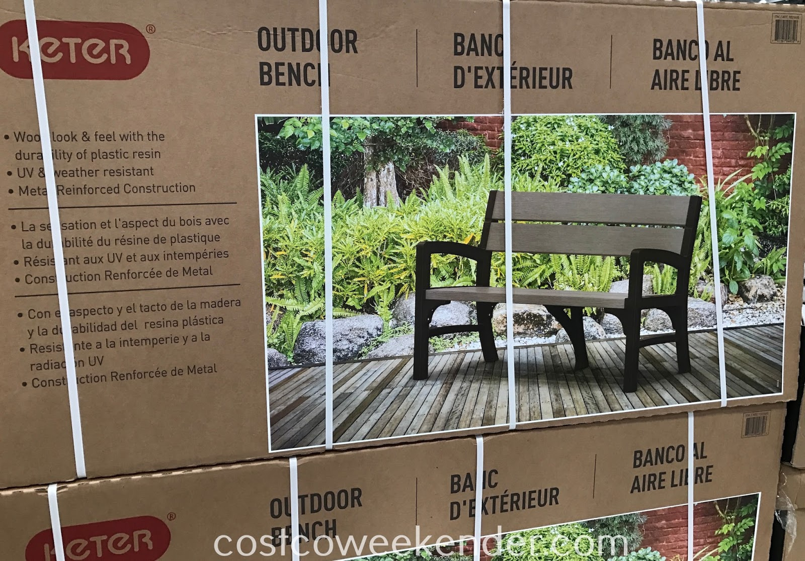 Costco 1031665 - Keter Outdoor Bench: great for any backyard or patio