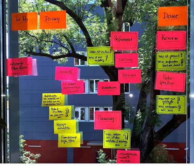Bild von einem Meeting-Backlog (Post-Its auf Fensterscheibe)