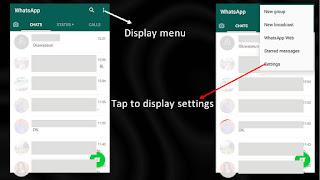 Tap menu, then settings