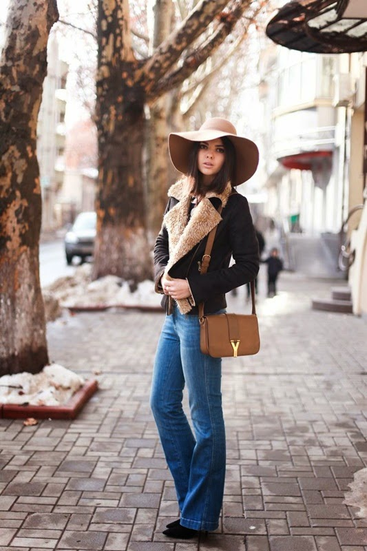 Wearing a Flared Jeans with Floppy Hat