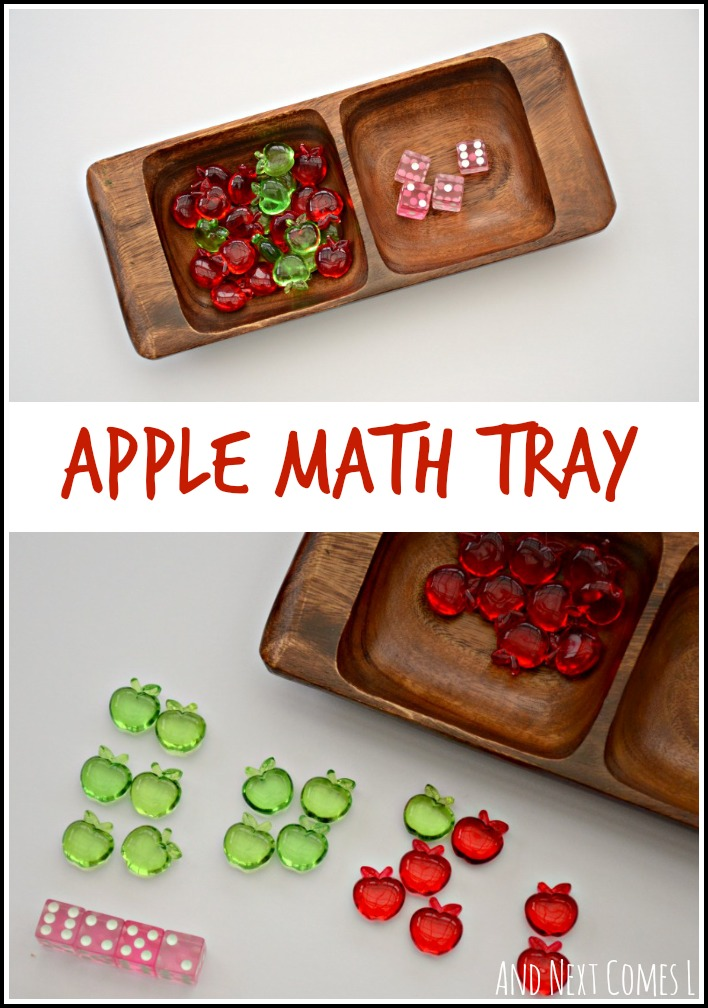 Preschool math using apples and dice - a great way to work on one to one correspondence, counting, and addition from And Next Comes L