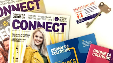 Magazines titeld 'Connect', Information leaflets by Crohn's and Colitis UK, an 'Urgent, Can't Wait' toilet card and a Radar Key