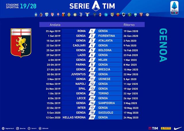 Serie A 2020 20 Calendario.Calendario De Genoa Serie A 2019 20 Genoa Club Argentina