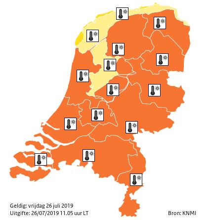 Карта Нидерландов — оранжевый уровень опасности.
