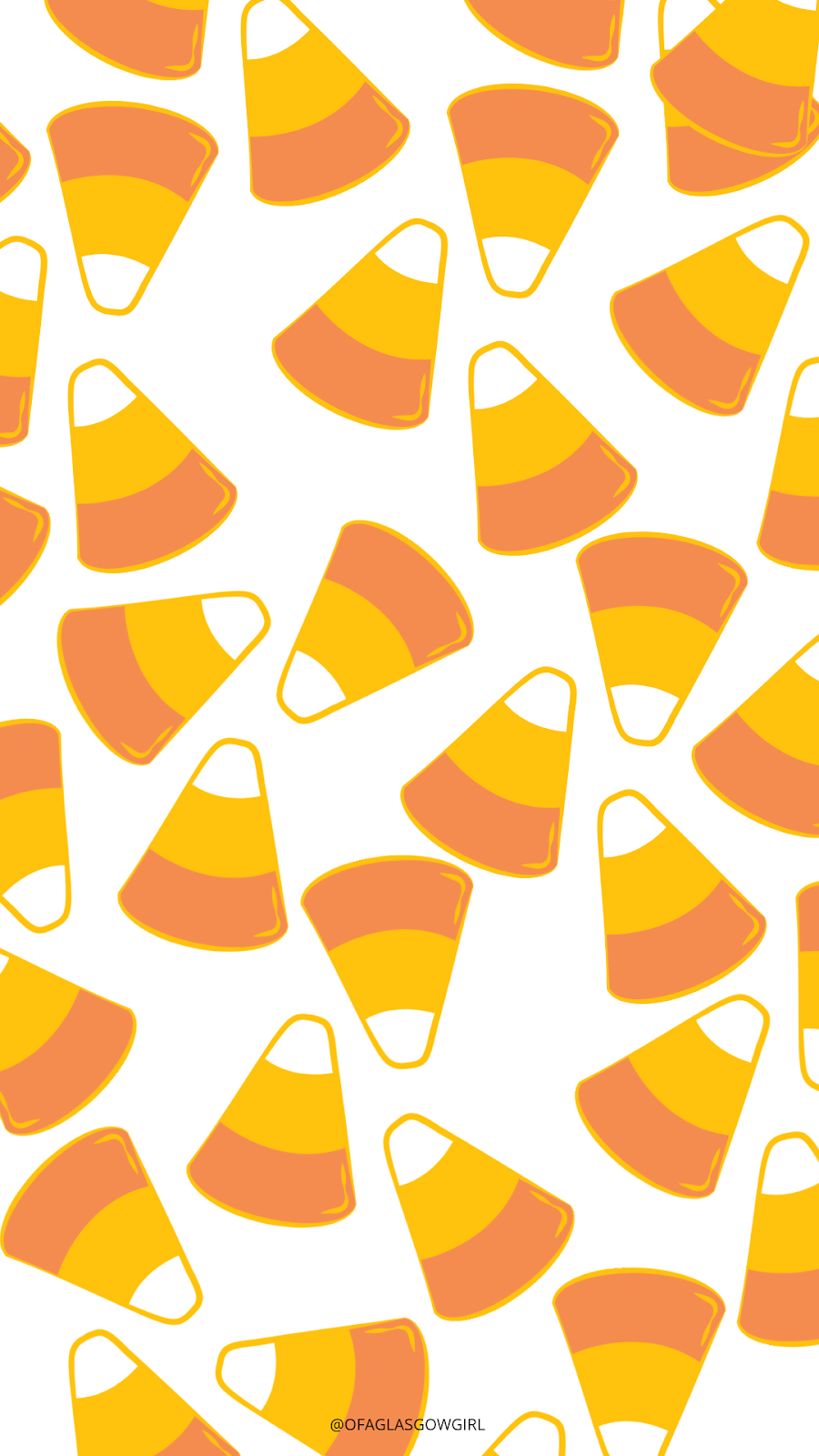 Halloween phone wallpaper or instagram template with a repeated pattern of candy corns on it.