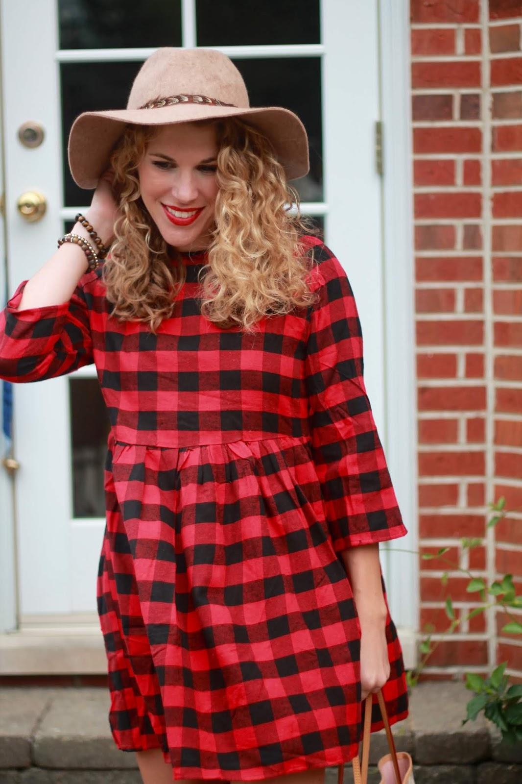 buffalo plaid dress, brown OTK boots, brown wide brim hat, LV azure neverfull