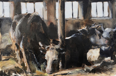 """Resting cows"" Original oil painting on panel 30x20cm by Philine van der Vegte"
