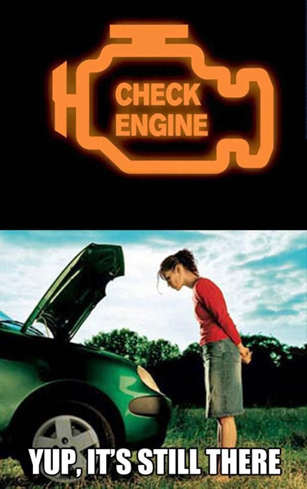 Funny Woman Check Engine Warning Joke Picture