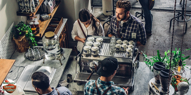 """Intern networking at coffee break. Featured in the article: """"4 Tips To Turn Your Internship Into A Full-Time Job"""""""