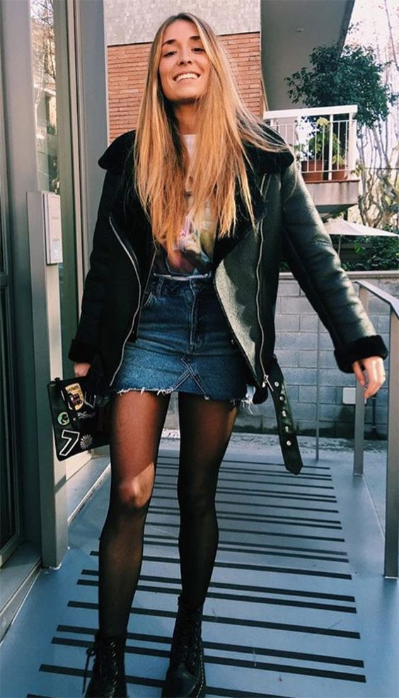 Edgy Look Fur And Leather Coat Denim Skirt Tights And