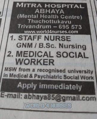 MITRA HOSPITAL TRIVANDRUM, KERALA HIRING STAFF NURSE AND MEDICAL SOCIAL WORKER - APPLY NOW