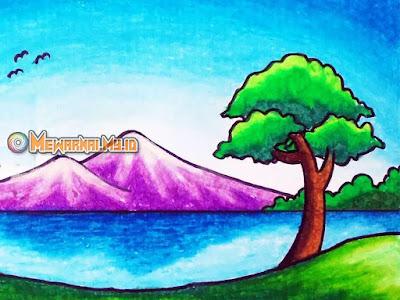 mewarnai gambar gunung untuk anak tk