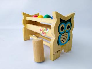 Bola Pukul Owl Mainan Kayu