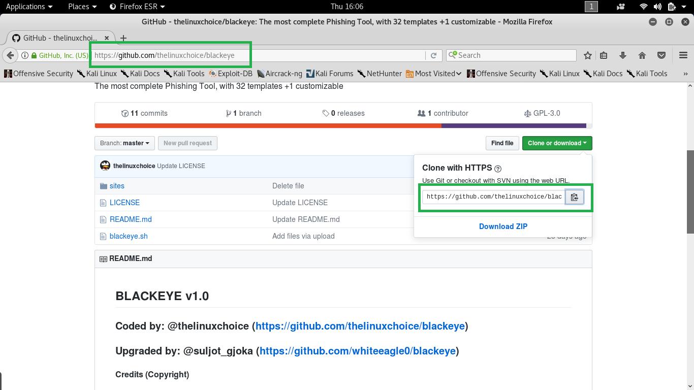 Blackeye - The most phishing tool - over Internet(WAN) - in