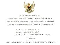 DAFTAR HARI LIBUR NASIONAL DAN CUTI BERSAMA TAHUN 2018