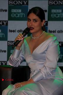 Bollywood Actress Kareena Kapoor Stills in Beautiful Silk Long Dress at Sony BBC Earth New Channel Launch  0006.jpg