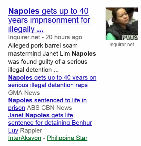 Napoles Face up to 40 Years Imprisonment