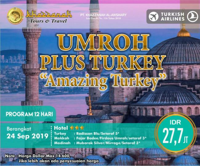 Paket Umroh Plus Turki 2019 September