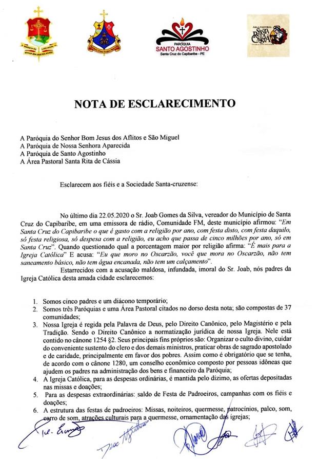 Em nota, Paróquias de Santa Cruz do Capibaribe repudiam acusações feitas pelo vereador Joab Gomes