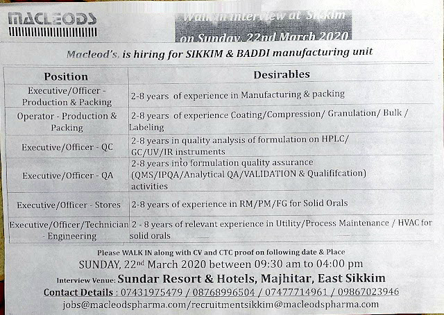 Macleods Pharma walk-in interview for multiple positions on 22nd Mar' 2020