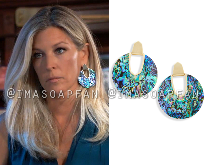 Carly Corinthos, Laura Wright, Blue-Green Abalone Shell Statement Earrings, General Hospital, GH