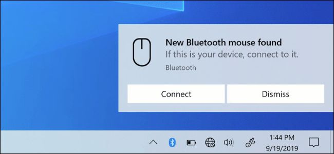 إشعار Bluetooth Swift Pair على سطح مكتب Windows 10.