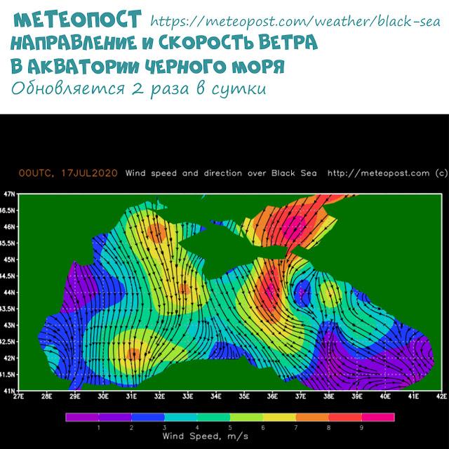 Скорость ветра в акватории Черного моря