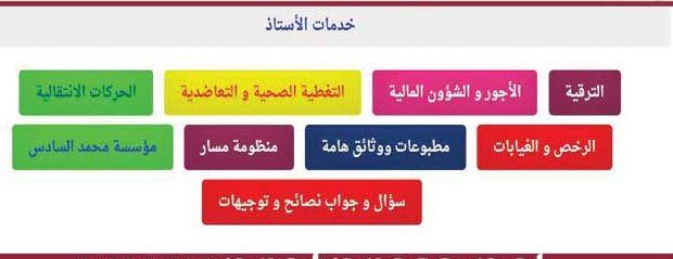 خدمات الأستاذ:ترقية أجور تغطية صحية رخص مسار حركة انتقالية مؤسسة محمد السادس
