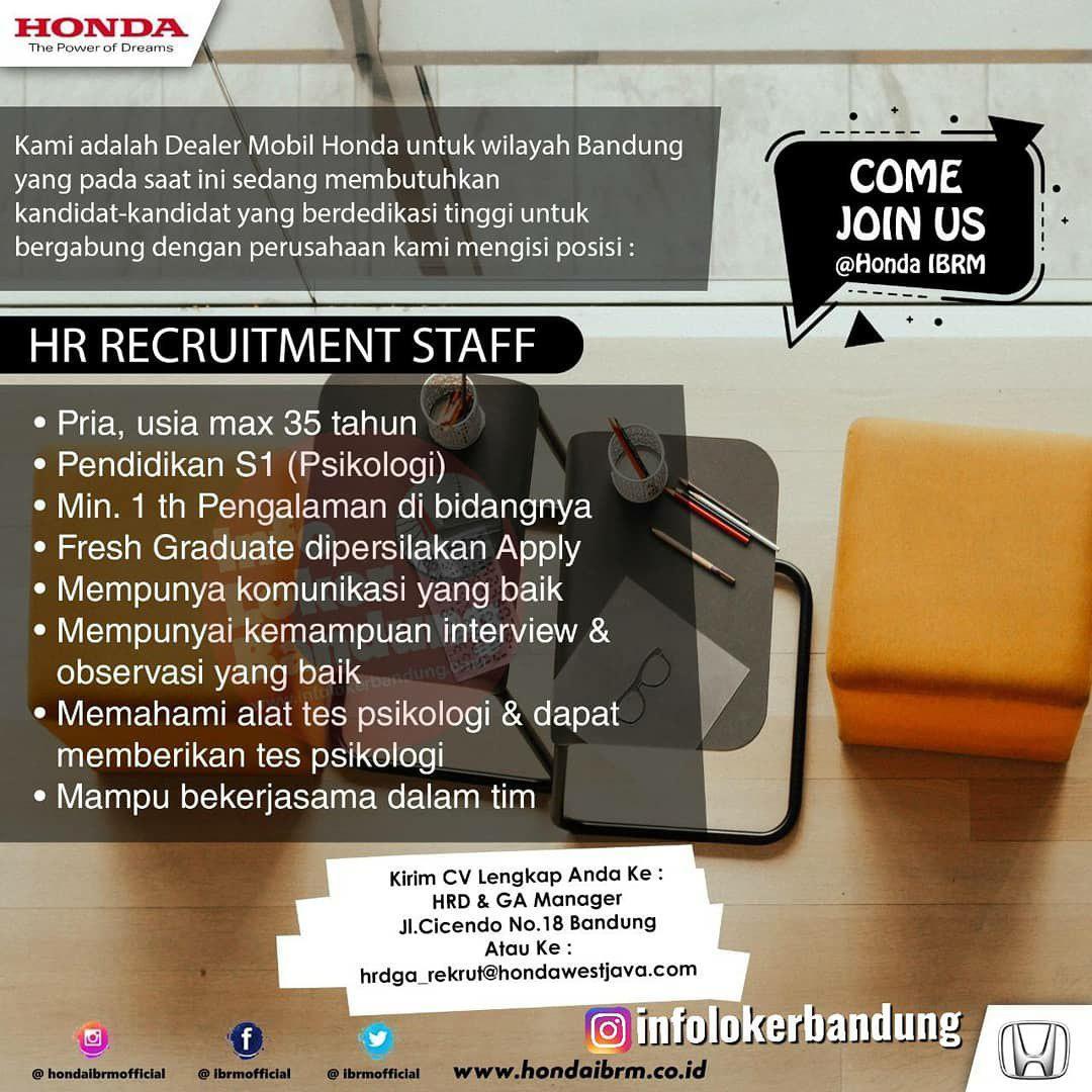 Lowongan Kerja Honda IBRM Bandung Desember 2019