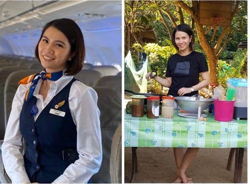 flight attendant proudly sells fish balls