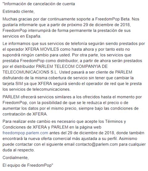 FreedomPop comunicado cese actividad