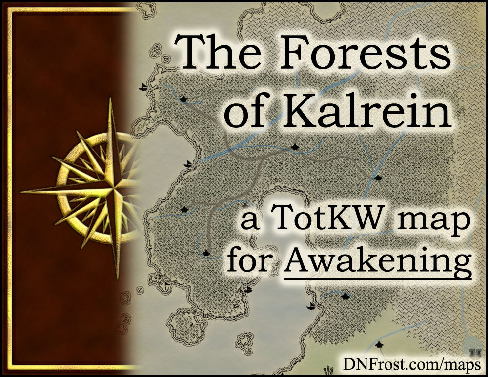 The Forests of Kalrein: towering black pines of the faeries www.DNFrost.com/maps #TotKW A map for Awakening by D.N.Frost @DNFrost13 Part 5 of a series.